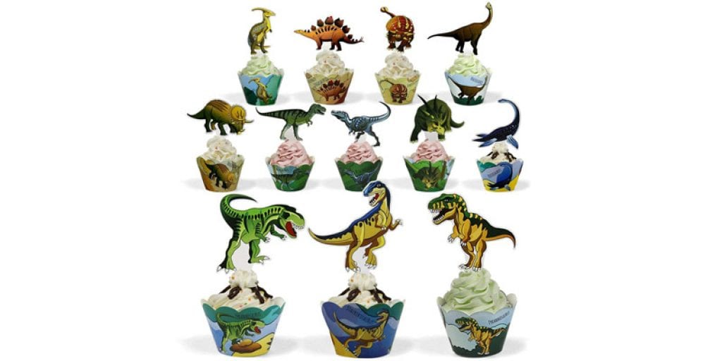 BeeGreen Dinosaur Party Supplies Cupcake Toppers and Wrappers (24 Pack)
