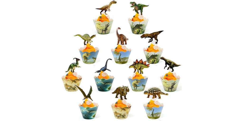 BOSNN Jurassic World Dinosaur Cupcake Wrappers And Toppers (24 Pack)