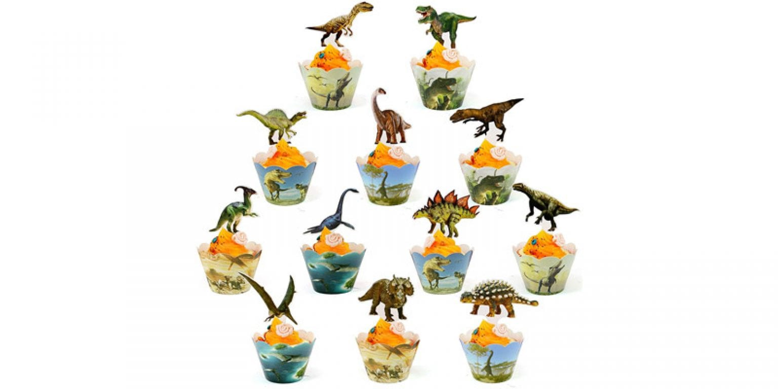 4. BOSNN Jurassic World Dinosaur Cupcake Wrappers And Toppers (24 Pack)