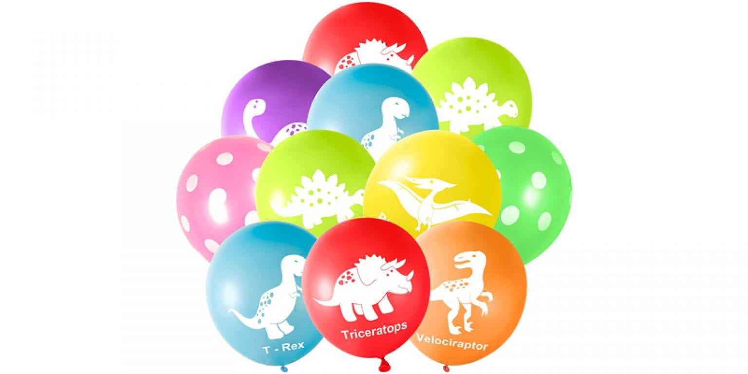 4. FEPITO 12″ Latex Dinosaur Balloons (32 Pieces)
