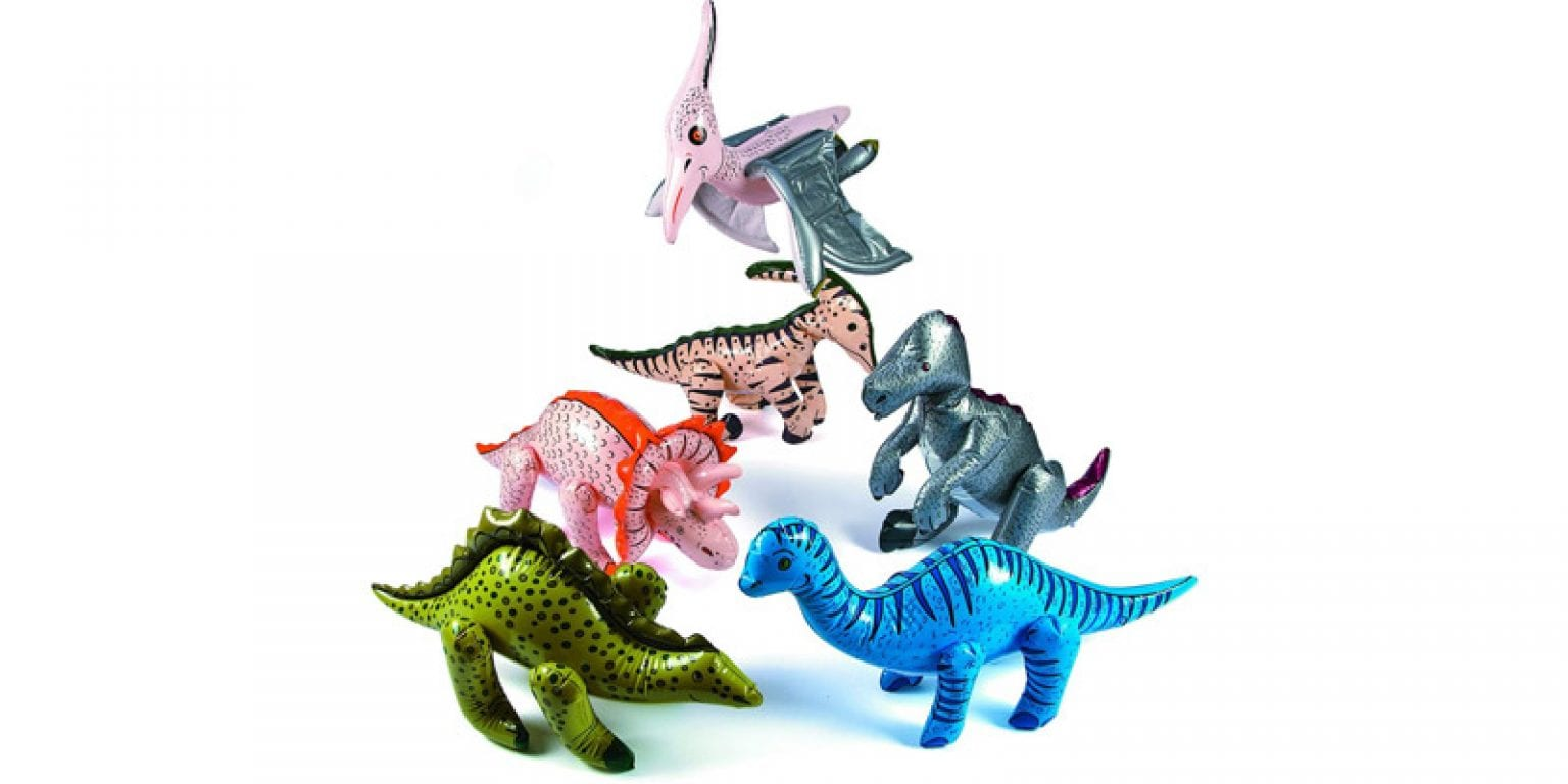 1. Fun Express Large Inflatable Dinosaurs Balloons (Set of 6)