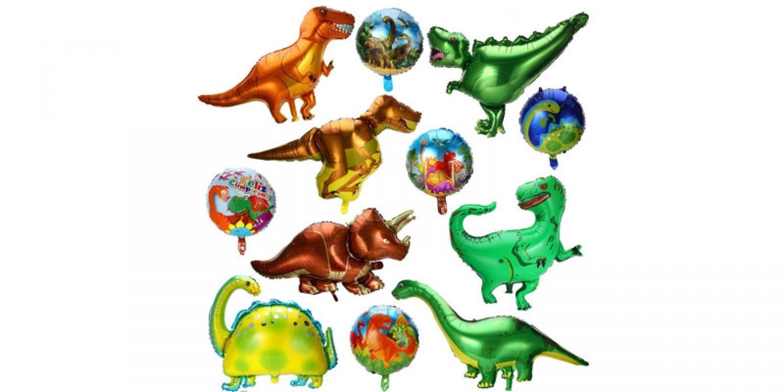 8. Gejoy Foil Dinosaur Party Balloons (12 Pieces)