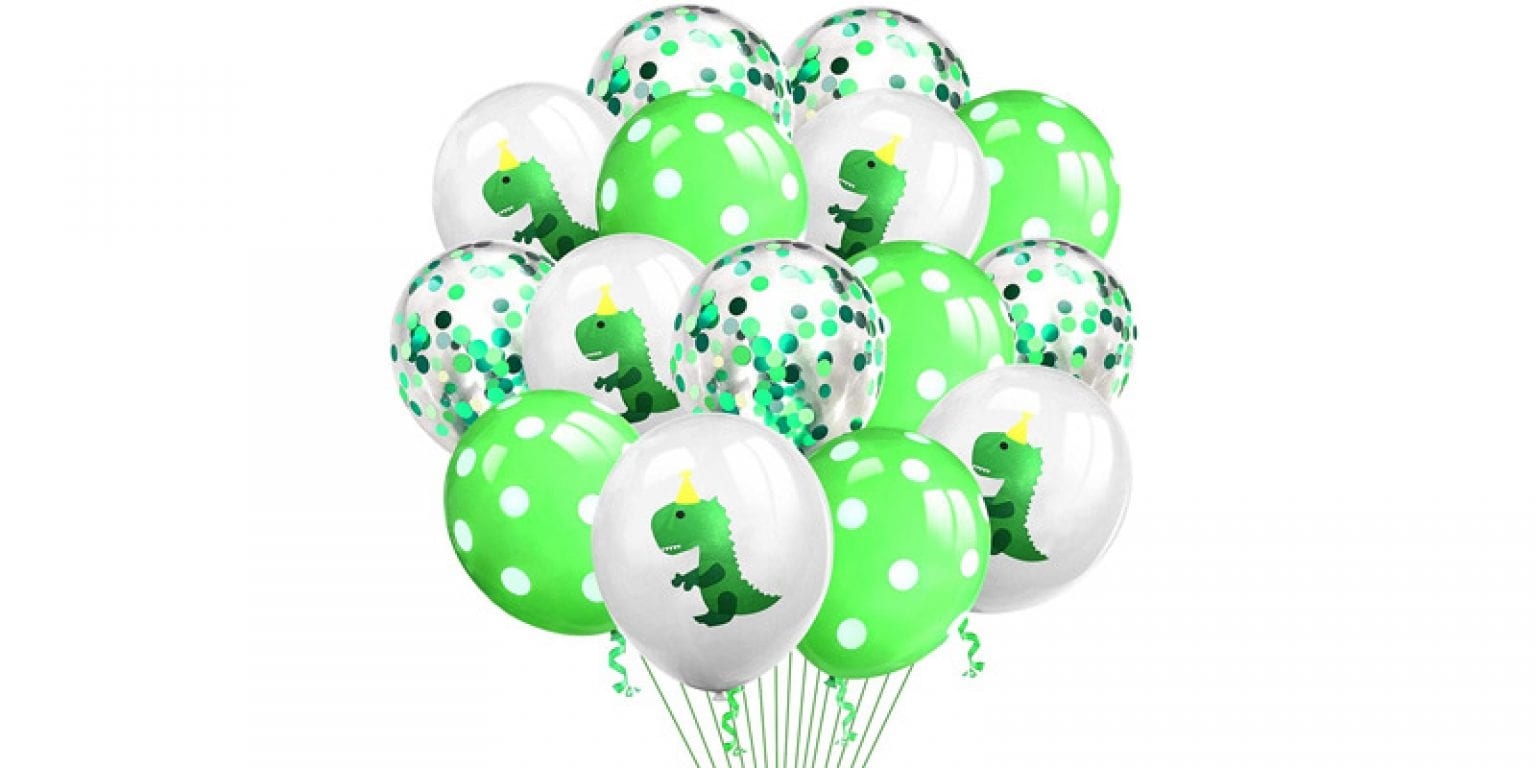 6. Grier Latex Dinosaur Confetti Balloons (15 Pieces)