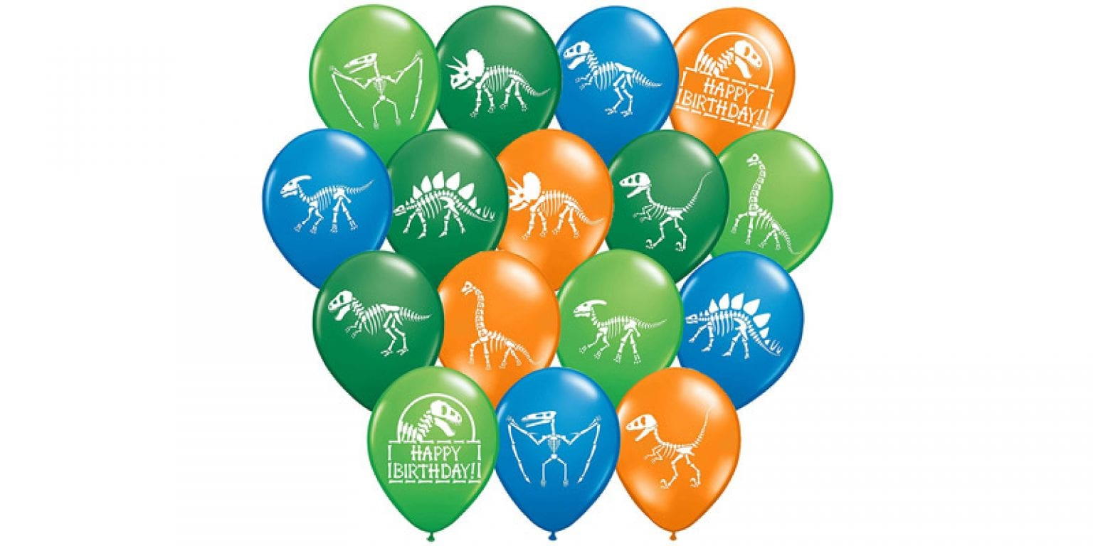9. Gypsy Jade's 12″ Latex Dinosaur Fossil Party Balloons (32 Pieces)