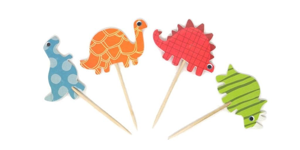 Honbay Double Sided Dinosaur Cupcake Toppers (48 Pack)