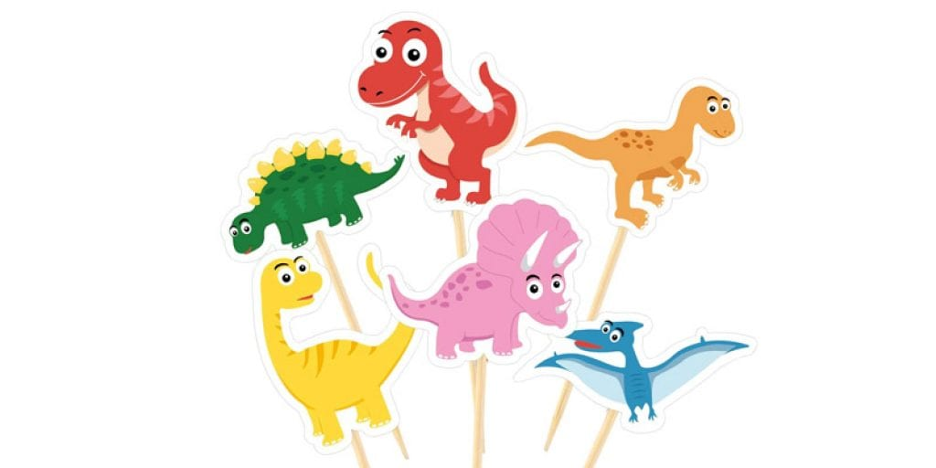 TUPARKA Cute Dinosaur Cupcake Toppers (60 Pack)