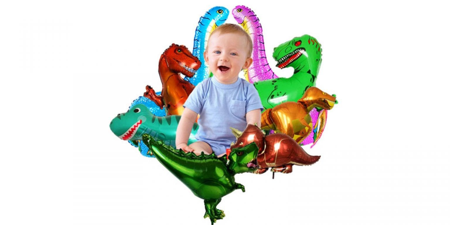 5. Unihoh Aluminum Dinosaur Party Balloons (9 Pieces)