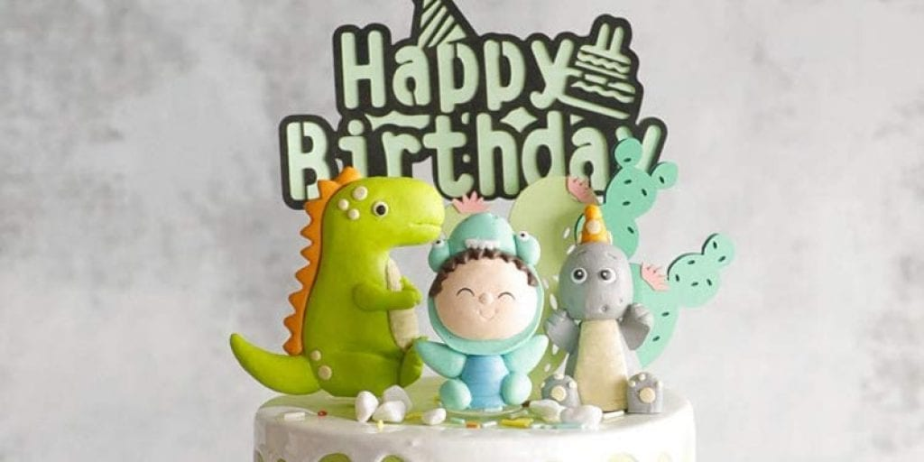 Aprildecember666 Dinosaur Themed 9 Piece Cake Topper Set