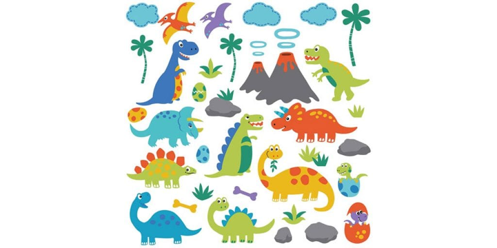 CherryCreek Decals Dino Friends Decorative Peel and Stick Wall Art