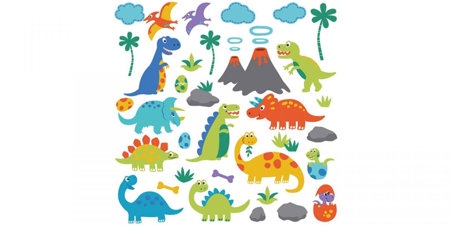 1. CherryCreek Decals Dino Friends Decorative Peel and Stick Wall Art