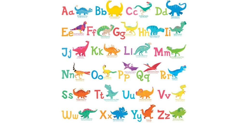 DECOWALL A-Z Dinosaur Alphabet Removable Wall Stickers