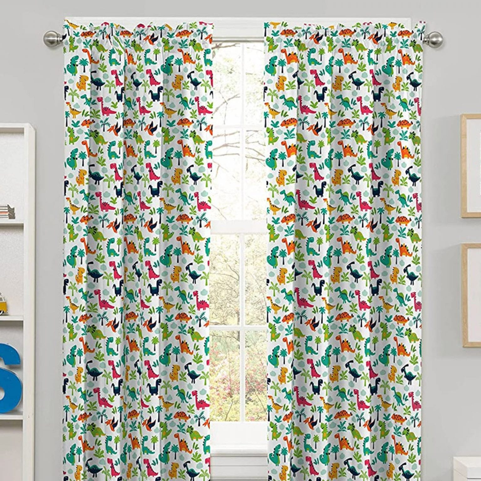 6. Eclipse Dippy Dinos Thermal Insulated Single Panel Room Darkening Curtains