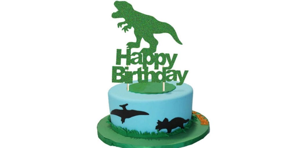 goodyh Green Glitter Happy Birthday T-Rex Dinosaur Cake Topper