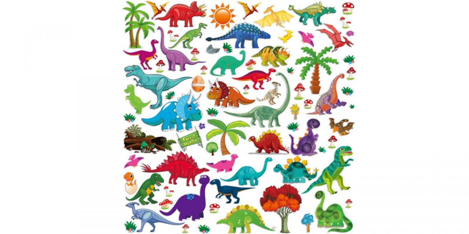 3. Lemostaar Assorted Dino Wall Decals Stickers (77 pieces)