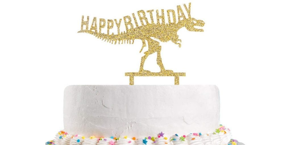 Talorine Happy Birthday Gold Glitter Dinosaur Cake Topper