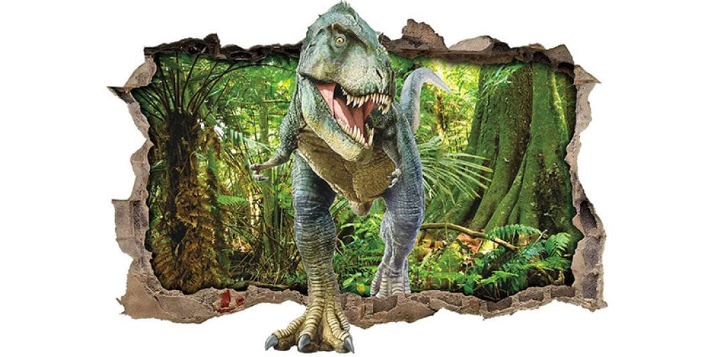 ufengke Dinosaur Forest Smashed 3D Wall Decal