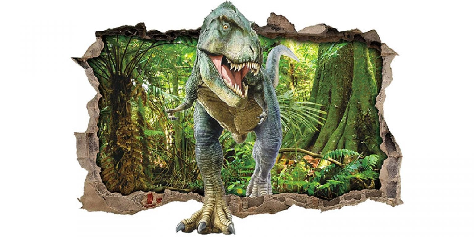 6. ufengke Dinosaur Forest Smashed 3D Wall Decal
