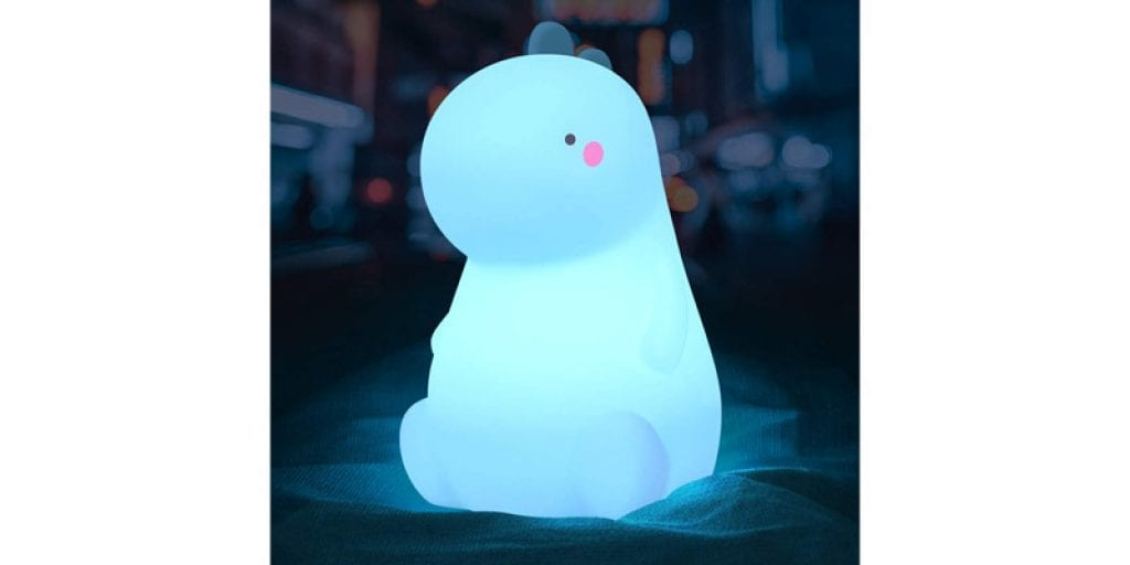 VSATEN Color Changing Silicone Cute Dinosaur Night Light