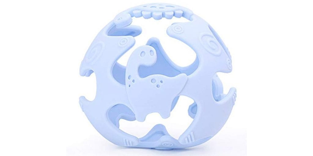 AinDen Store Silicone Dinosaur Baby Teething Toy