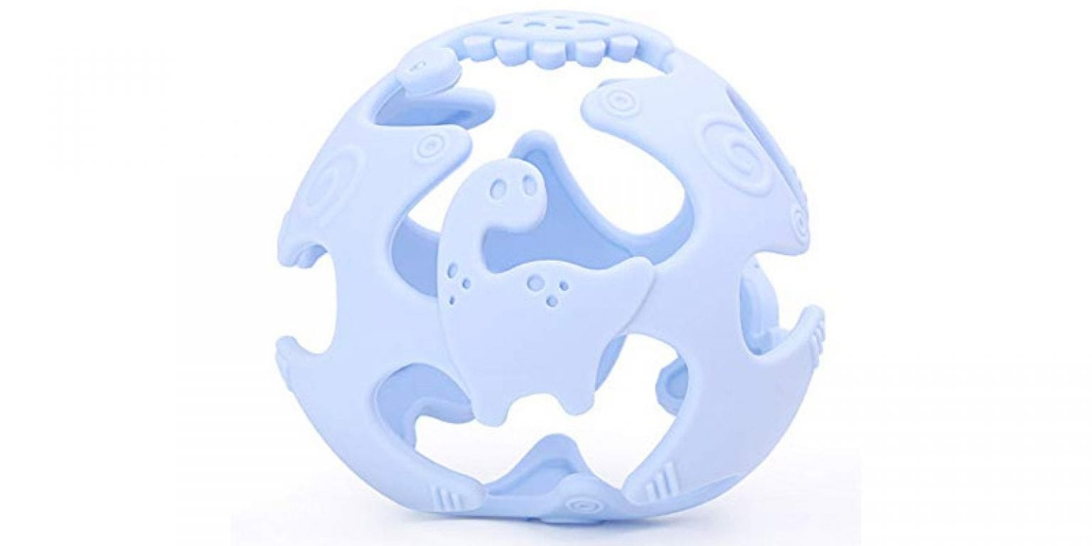 9. AinDen Store Silicone Dinosaur Baby Teething Toy
