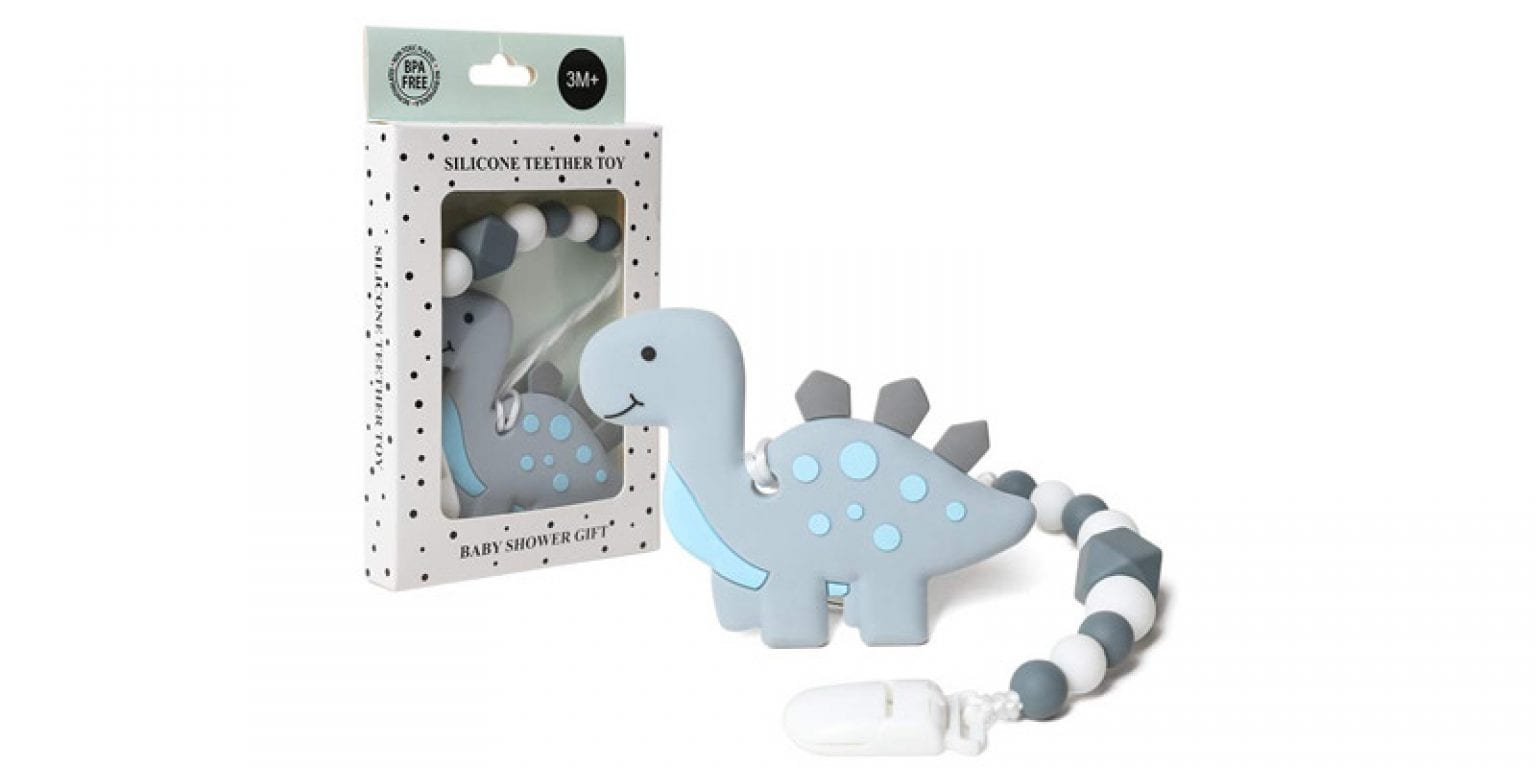5. AmazingM Dinosaur Teething Pain Relief Toy with Pacifier Clip Holder