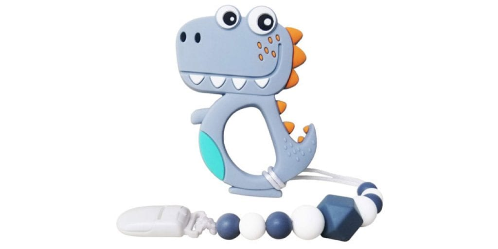 CANAY Baby Dinosaur Teether with Pacifier Clip Holder