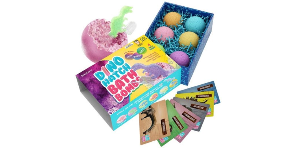 Dan&Darci Dino Hatch Bath Bombs with Learning Cards (6 pieces)