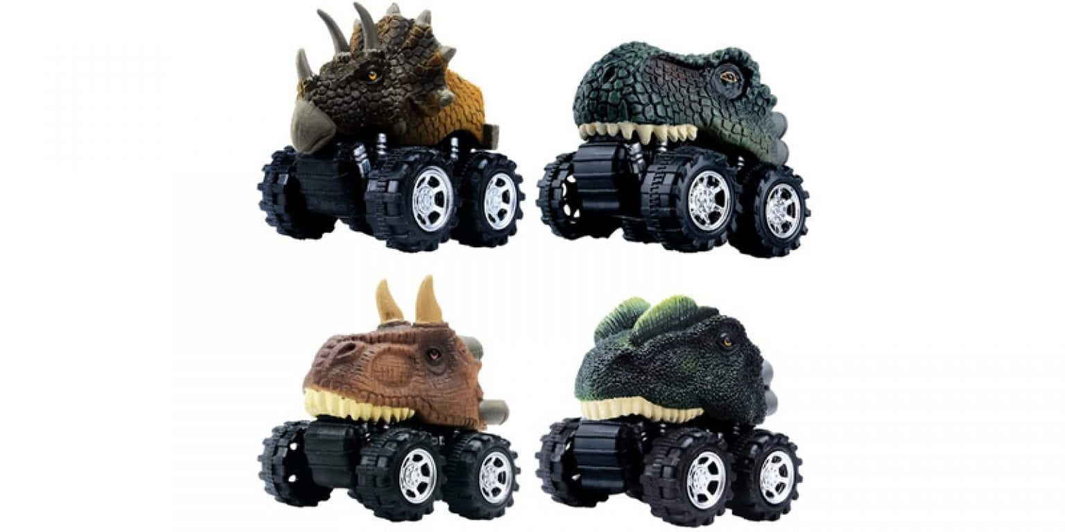2. DINOBROS The Epic Dino Monster Machines Pull Back Car Set (4 Pieces)