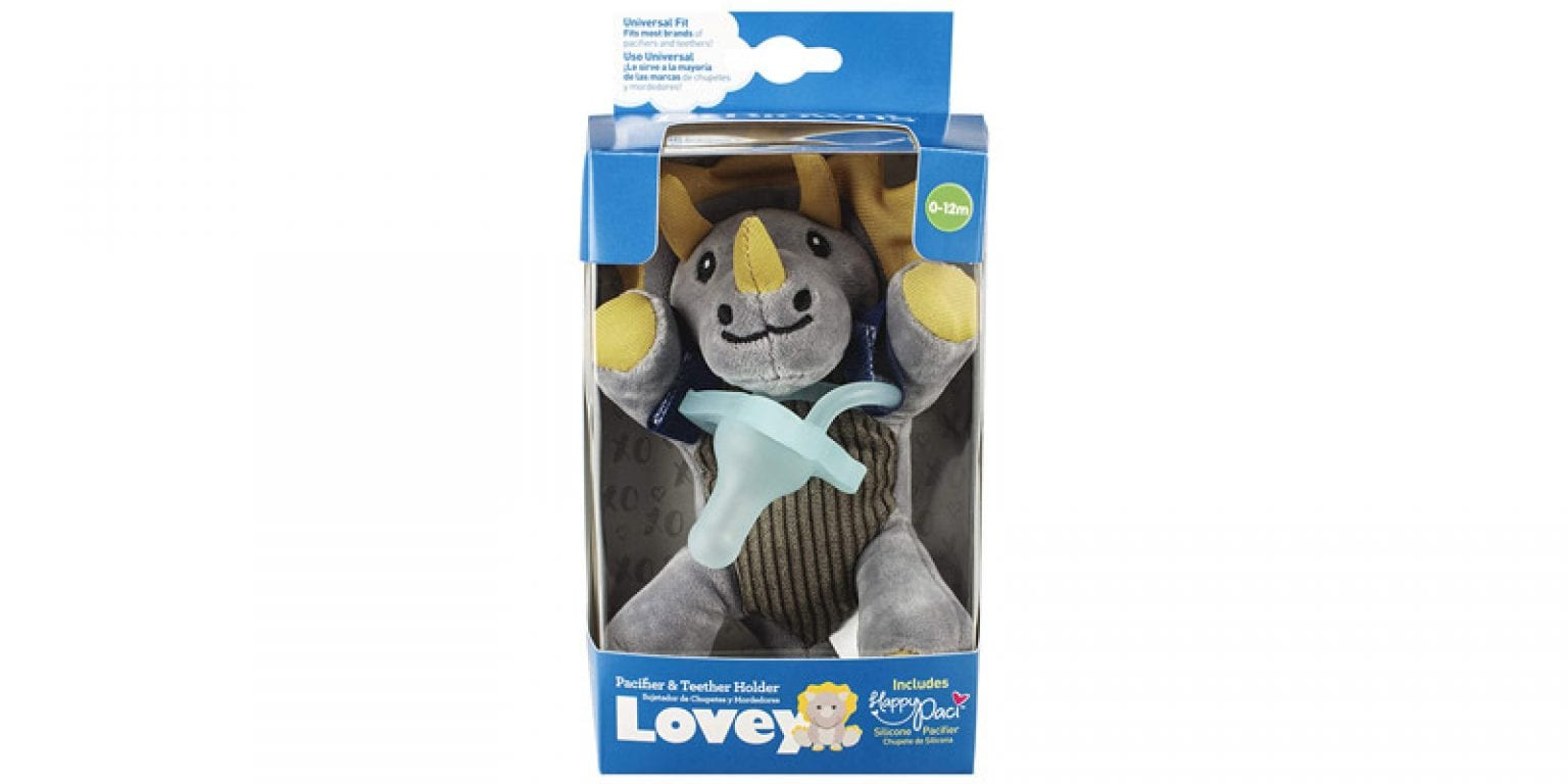 4. Dr. Brown's Triceratops Lovey Pacifier and Teether Holder
