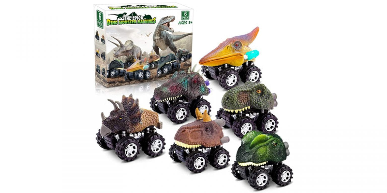 1. Palotix The Epic Dino Monster Machines Pull Back Car Set (6 Pieces)