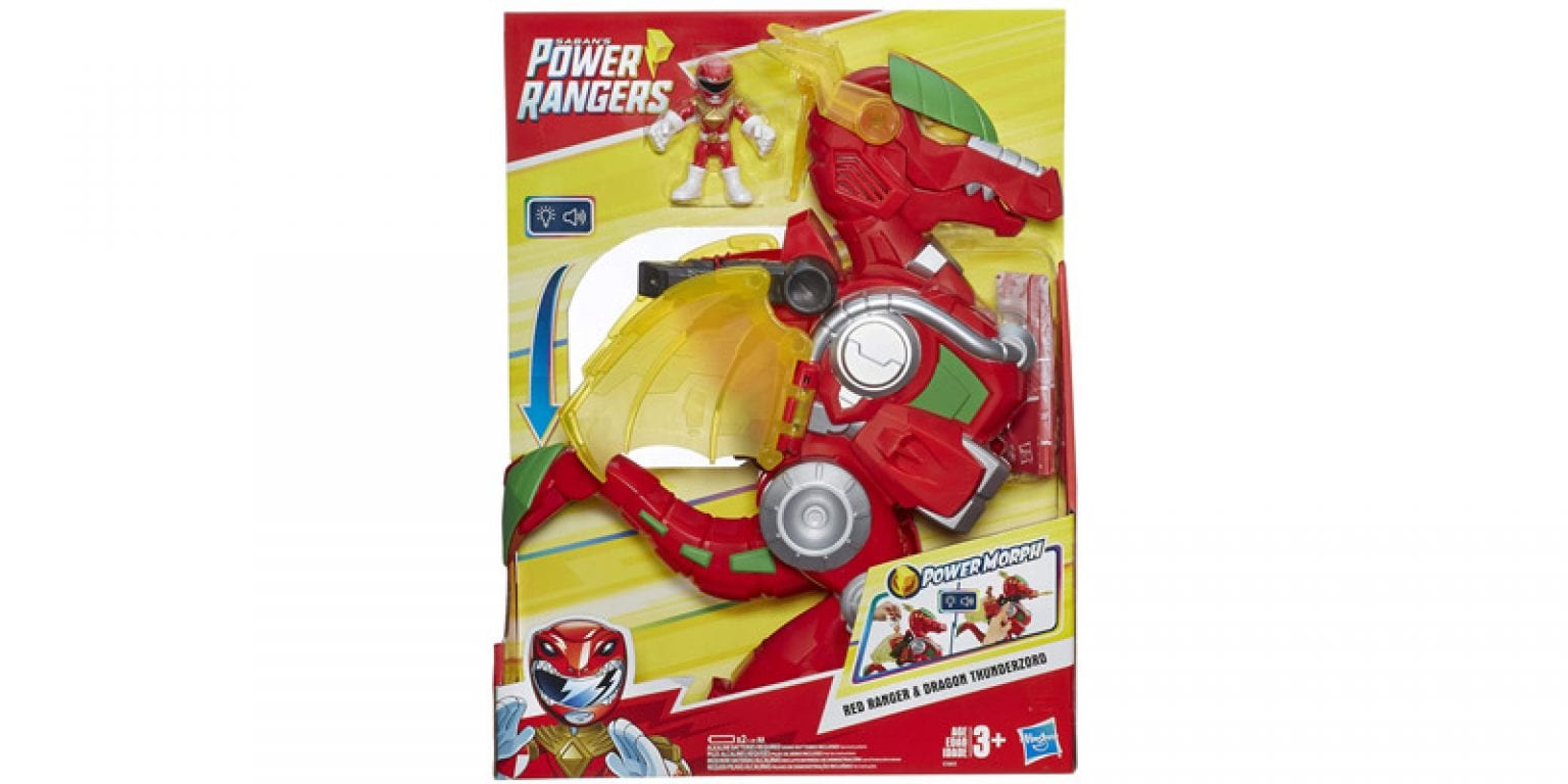 3. Playskool Heroes Power Rangers Red Ranger and Dragon Thunderzord