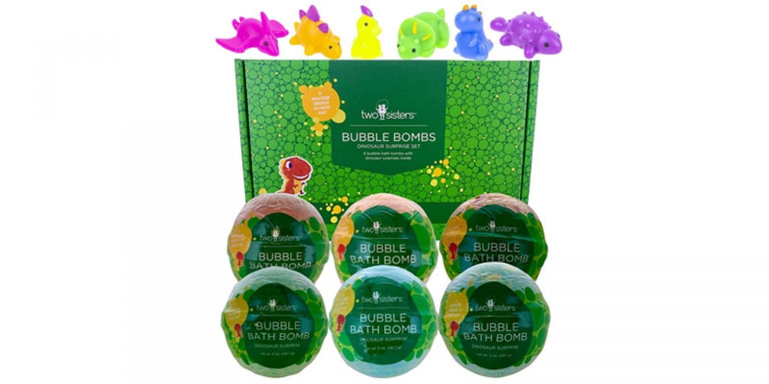 3. Two Sisters Store Dinosaur Squishy Bubble Bath Bombs (6 Pieces)
