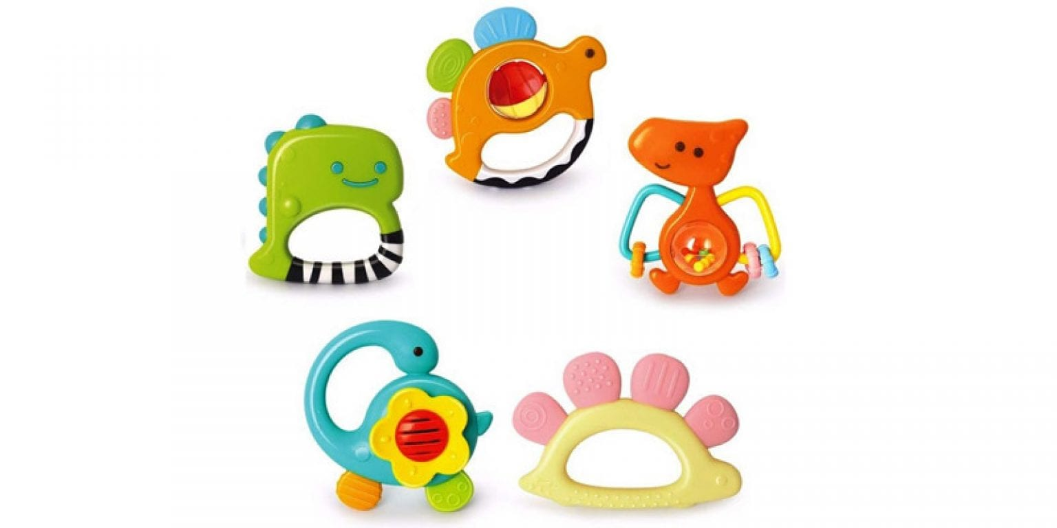 6. Yiosion Baby Dinosaur Teether, Shaker, Grab and Spin Rattle Set